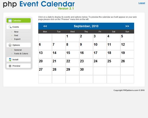 Screenshot of PHP Event Calendar