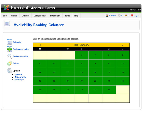 Booking Calendar Joomla extension - web calendar, availability booking calendar, booking engine, reservation calendar, PHP script, webmaster tools, web development, web developers, Joomla component, Joomla module, web tools, PHP, HTML, JavaScript, HTM - Show availability and let clients submit reservations and pay online!