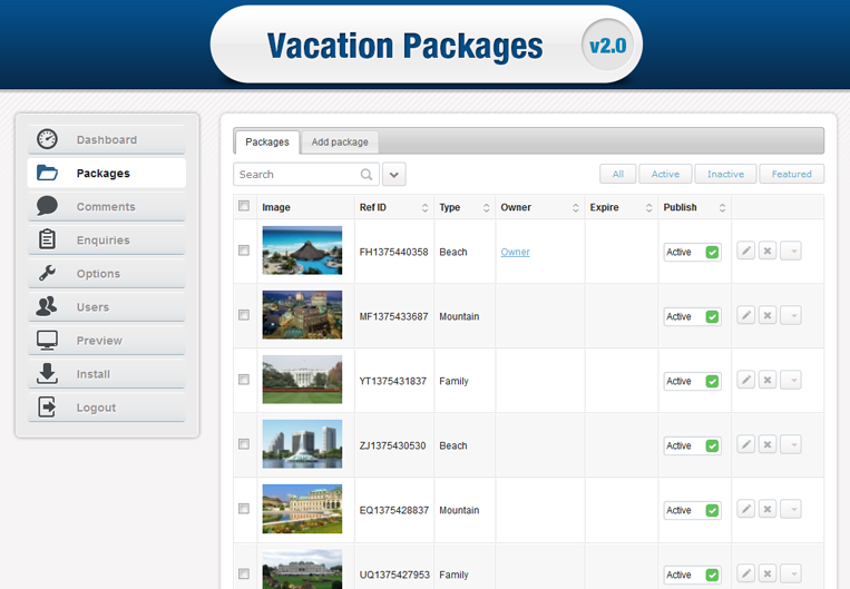 Stivasoft Vacation Packages Listing full screenshot