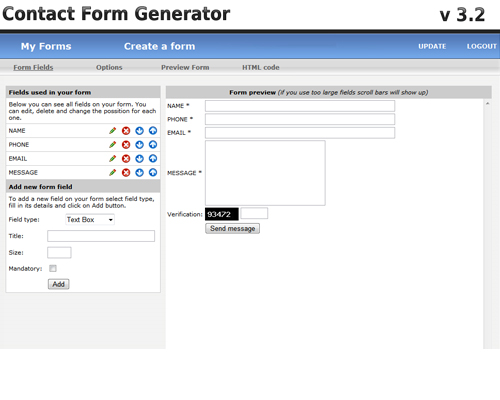 Windows 7 Contact Form Generator by StivaSoft 3.2 full