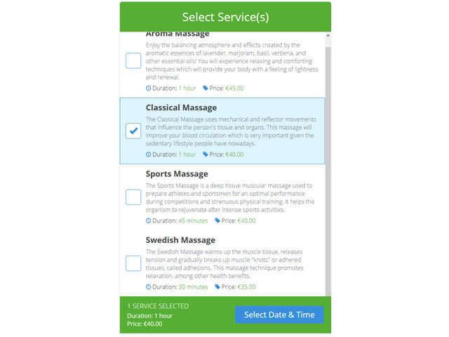 A smart Service Booking Script for your site